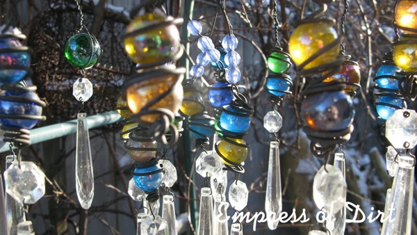Marbles and Wire On Garden Chandelier