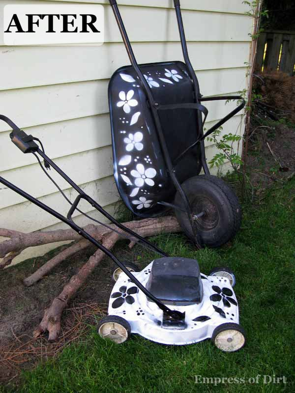 Stencilled Lawnmower and Wheelbarrow