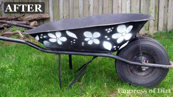 Stencilled Wheelbarrow After
