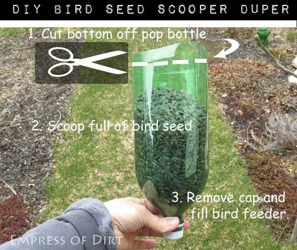 DIY Bird seed scoop - fill narrow tube bird feeders without spilling!