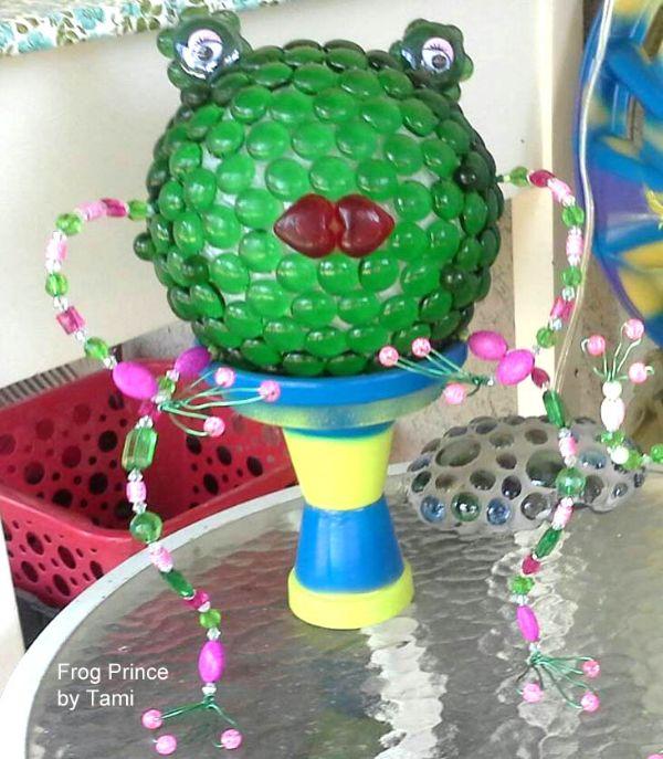 Make a garden art frog prince