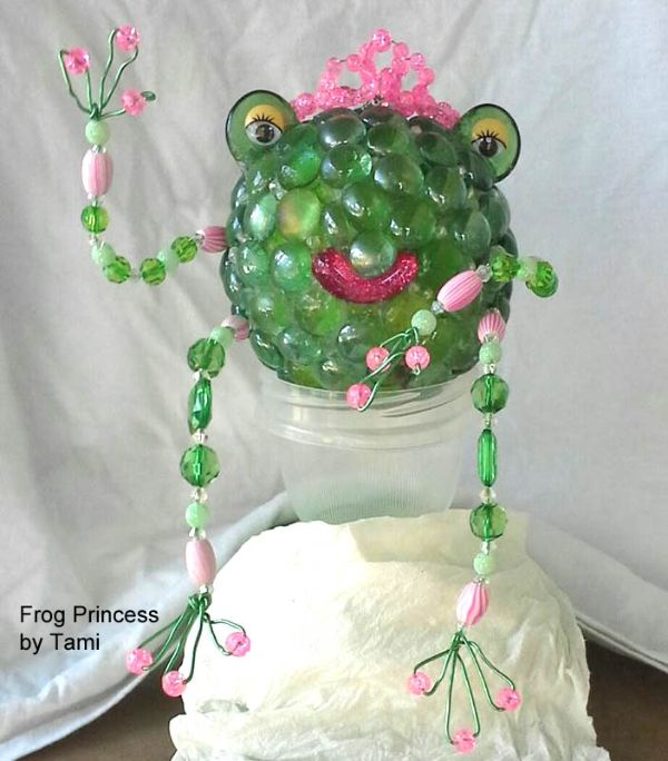 Make a garden art frog princess