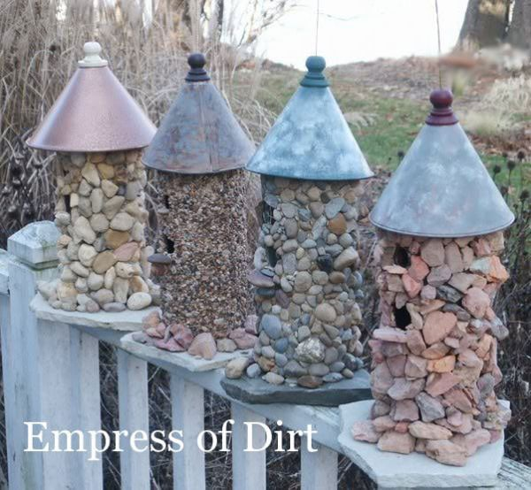 12 Creative and Frugal Garden Art Projects Under $20 | Stone Birdhouse