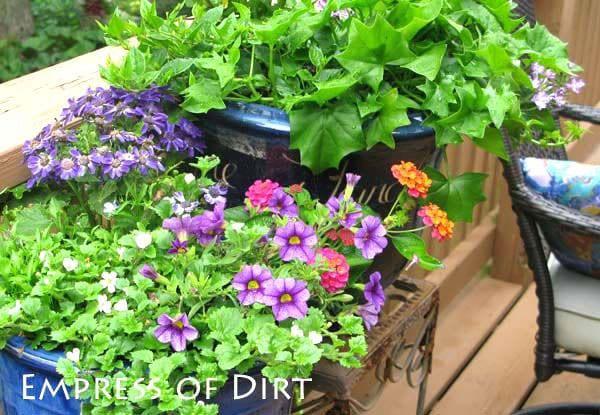 30 Garden container ideas | Blue pots