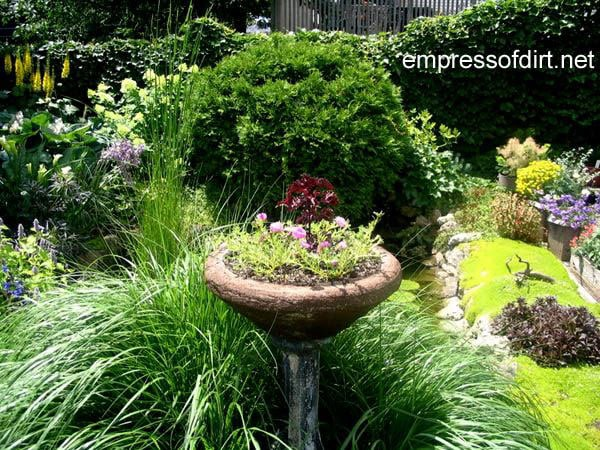 30 Garden container ideas | Birdbath planter