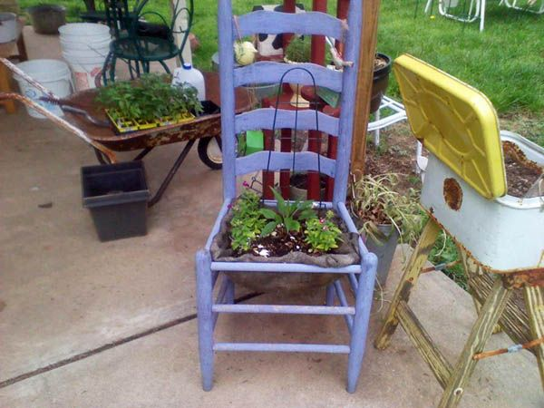 Old chair made into a planter: Fabulous garden container ideas