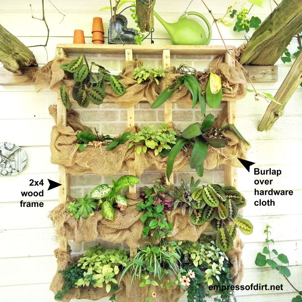 DIY Outdoor wall plant shelf with burlap at https://empressofdirt.net/diyplantshelf/