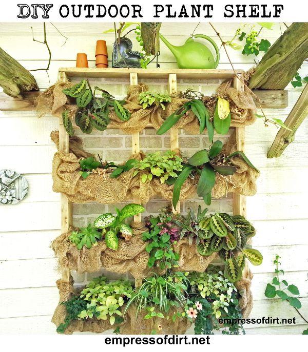 DIY Outdoor wall plant shelf with burlap at http://empressofdirt.net/diyplantshelf/
