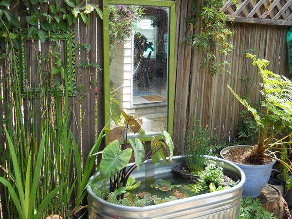 Galvanized stock tank used as garden pond: Fabulous garden container ideas