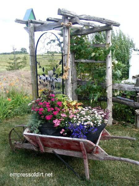 Flower Garden Ideas With Old Wheelbarrow 30 flower container ideas to make your garden wonderful - empress