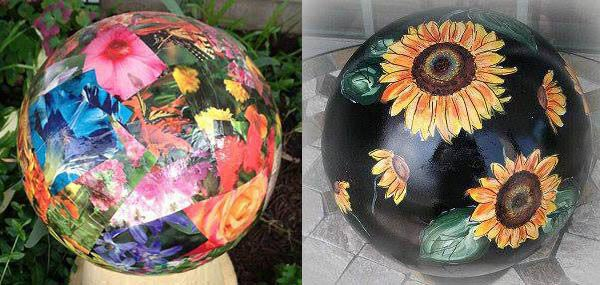 Gallery of creative garden art balls with tutorials | Decoupage garden balls