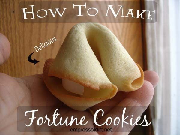 Great garden party ideas: Homemade fortune cookies with custom fortunes via http://www.empressofdirt.net