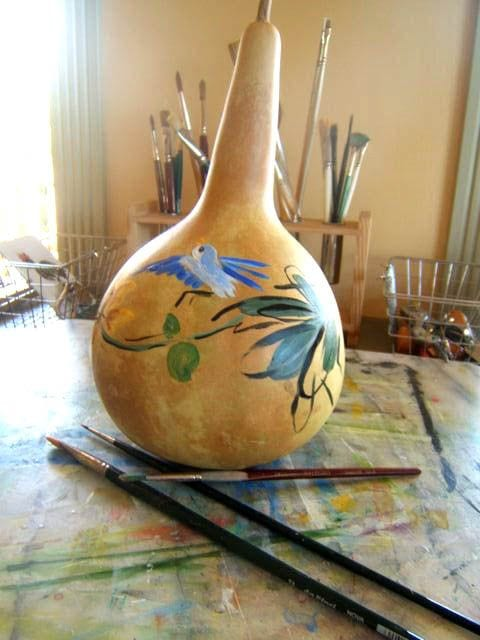 Learn how to paint gourds at http://sensiblegardening.com