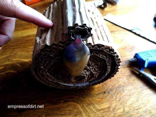 Attaching beak to body - owl craft project -www.empressofdirt.net