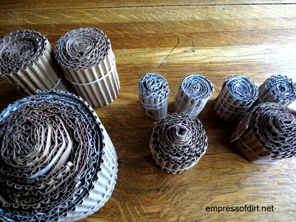 Rolls of cardboard drying - owl craft project - www.empressofdirt.net