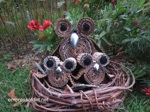 Make an owl family from recycled cardboard at www.empressofdirt.net