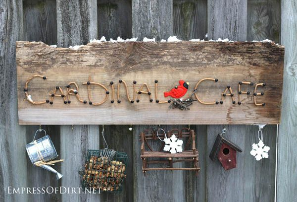 Cardinal Cafe DIY garden sign project