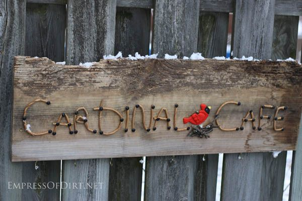Cardinal Cafe - DIY garden sign