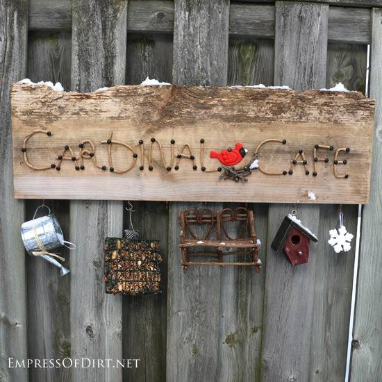 DIY Cardinal Cafe Garden Sign
