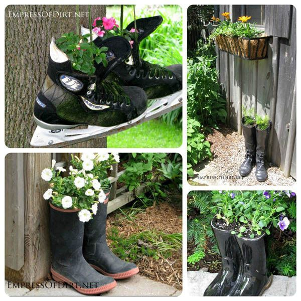 Creative DIY garden container ideas - Boots and skates planted with flowers