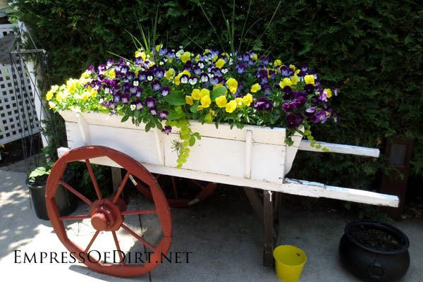 Superb Creative DIY Garden Container Ideas   Old Wooden Wagon With Flowers