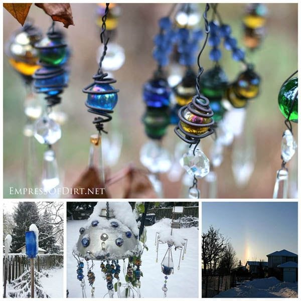 Blue glass beads, marbles, and crystals in the winter garden
