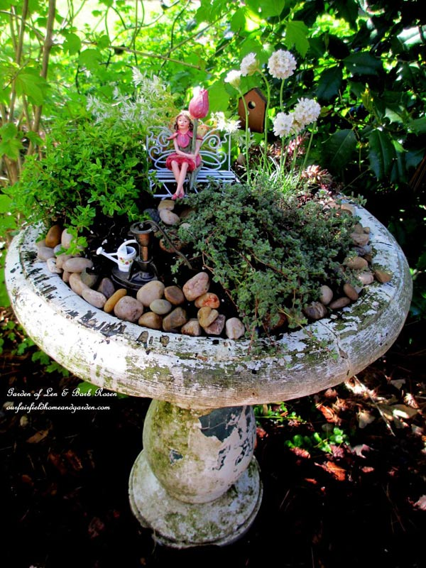 Broken bird bath? Plant it! | Bird bath fairy garden planter by Barb Rosen http://ourfairfieldhomeandgarden.com/diy-project-mothers-day-fairy-garden/