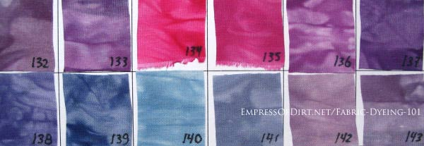 Color swatch of hand dyed purple and pink fabrics.