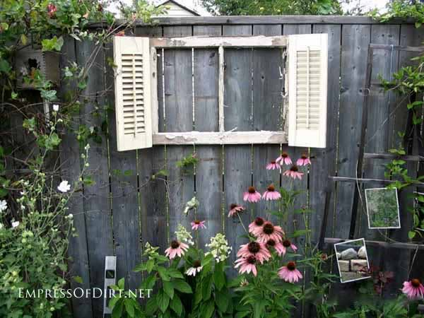 25+ Creative Ideas For Garden Fences | Old Window Frame with Shutters