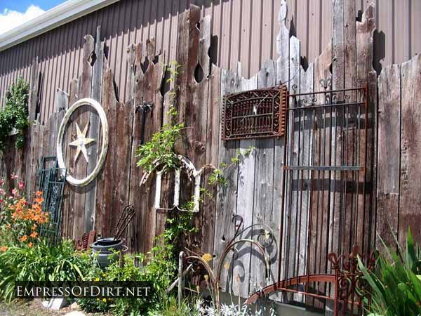 Fence Garden Ideas 55 backyard landscaping ideas youll fall in love with Wonderful Display Of Eclectic Garden Art On A Fence At A Salvage Yard Use What