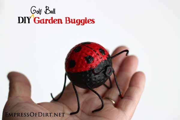 DIY Garden Buggies - recyled golf ball craft - ladybug  #earthday