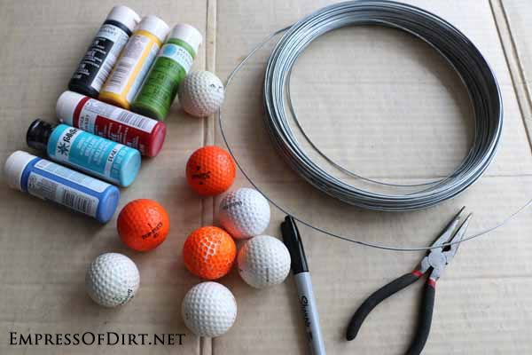 DIY Garden Buggies - a recycled craft made from old golf balls -supplies #earthday