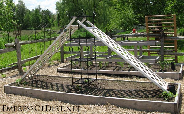 20+ Ideas for your home veggie garden - repurosed items for trellis to provide shade