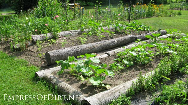20+ Ideas for your home veggie garden - use logs to form raised beds